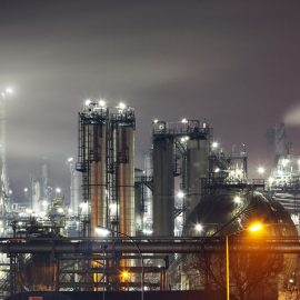 Petrochemical plant in night